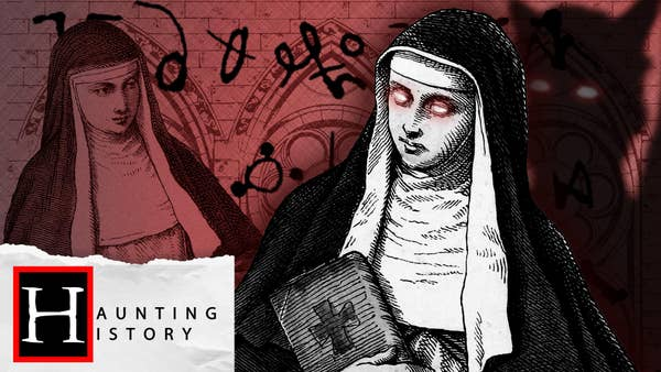 One nun with glowing red eyes holding a bible stands with a devilish shadow over her shoulder, while a second nun looks on over an ornate red background sprawled with black cryptic symbols