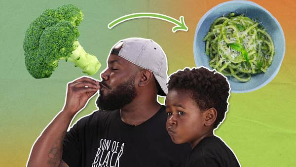 Chef Seth next to broccoli with his son Selassie.