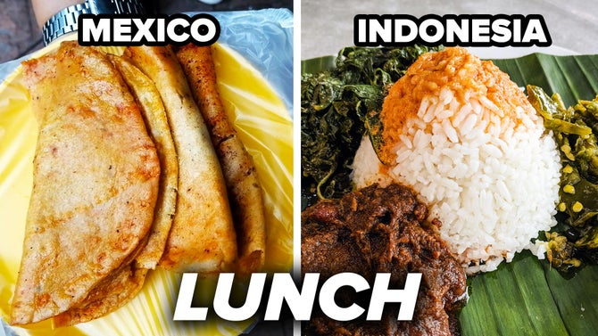Lunch from Mexico and Indonesia.