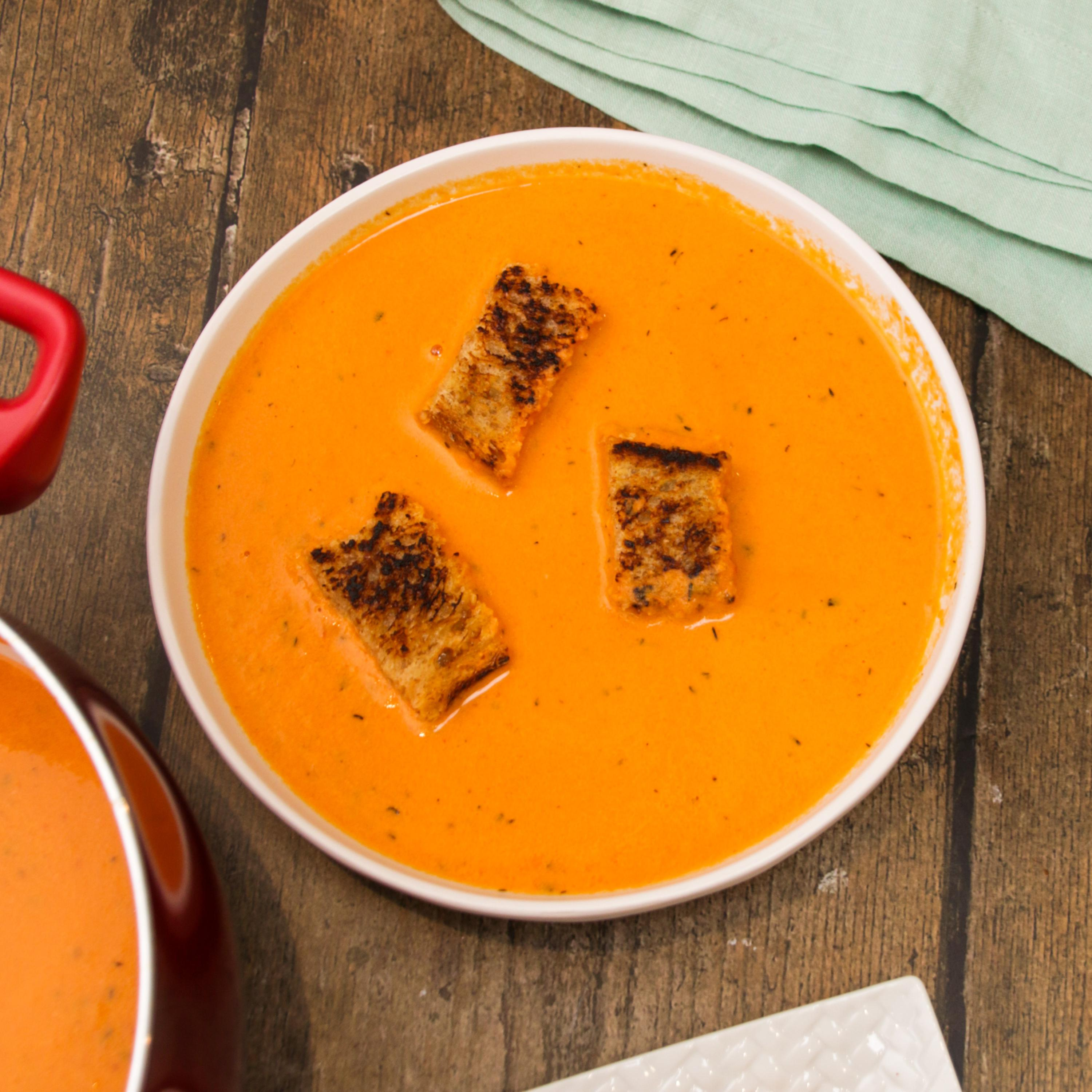 Tomato Soup With Grilled Cheese Croutons Recipe by Tasty image