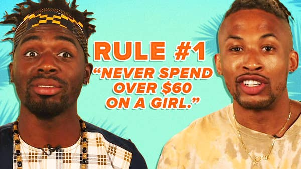"""Jerel and Tyler next to text that states """"Rule #1 never spend over $60 on a girl."""""""