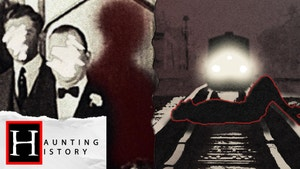 A black, white & red split image with two men on the left with their faces scratched out sand with a ghostly red figure standing behind them, and in the right image an oncoming train is shown with a body laying across the tracks in front of it.