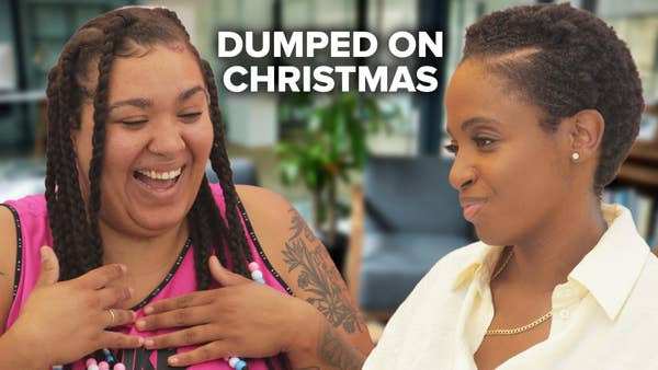 """Jazzmyne laughs as a therapist looks at her with intense focus. Text overlaid says """"Dumped on Christmas"""""""