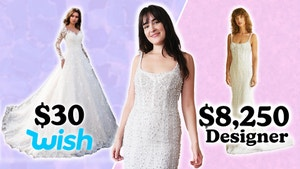 Merle stands in a wedding dress between pictures of a cheap wedding dress on the left and an expensive gown on the right