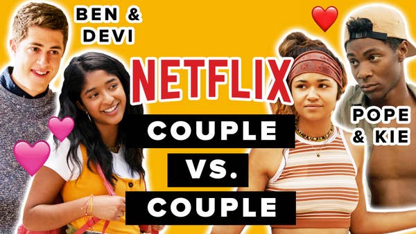 Devi and Ben from Never Have I Ever and Pope and Kie from Outer Banks appear side by side on opposite ends of an orange background. The title reads Netflix couple versus couple.
