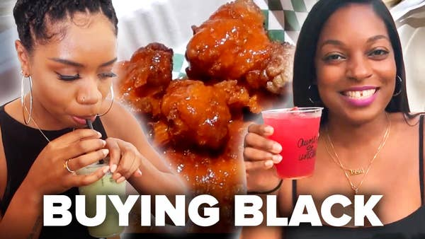 Toria and Morgan eating from black owned businesses.