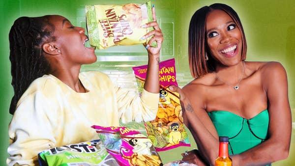 Kayline eats a bag of chips next to Yvonne Orji.