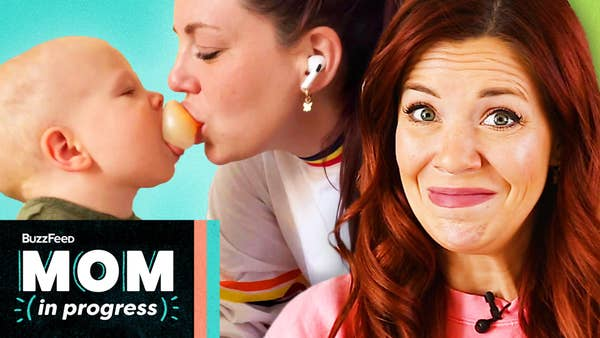 """Our Mom In Progress making a """"we'll see"""" face in front of an image of her pressing a food item in her mouth into her baby's mouth. Mom In Progress logo in the bottom lefthand corner"""