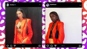 A photo of Dua Lipa next to Toni's version of the photo.