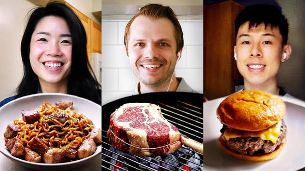Inga, Andrew, and Alvin, each with the ribeye dishes they made
