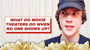 """Picture of a guy in a movie theater with text reading """"what do movie theaters do if nobody shows up?"""" at the top."""
