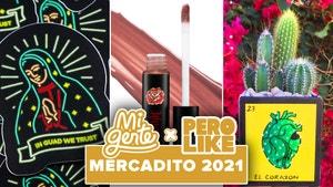 sticker of Guadalupe image of lipstick and decorative cactus planter mercadito 2021