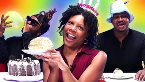 Thomas, Jada and Ade holding up cake and balloons.