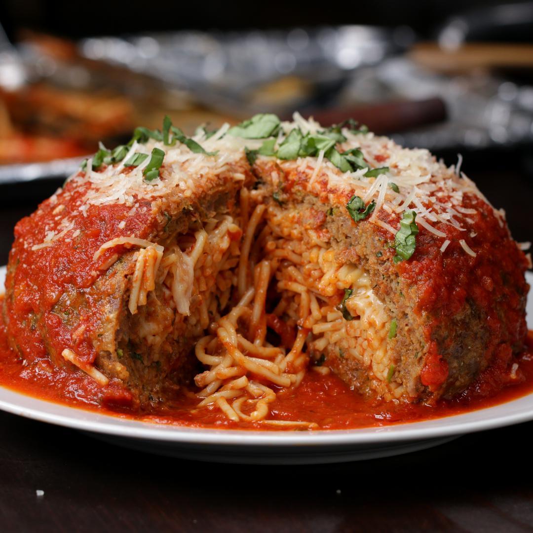 Giant Spaghetti-Stuffed Meatball Recipe By Tasty