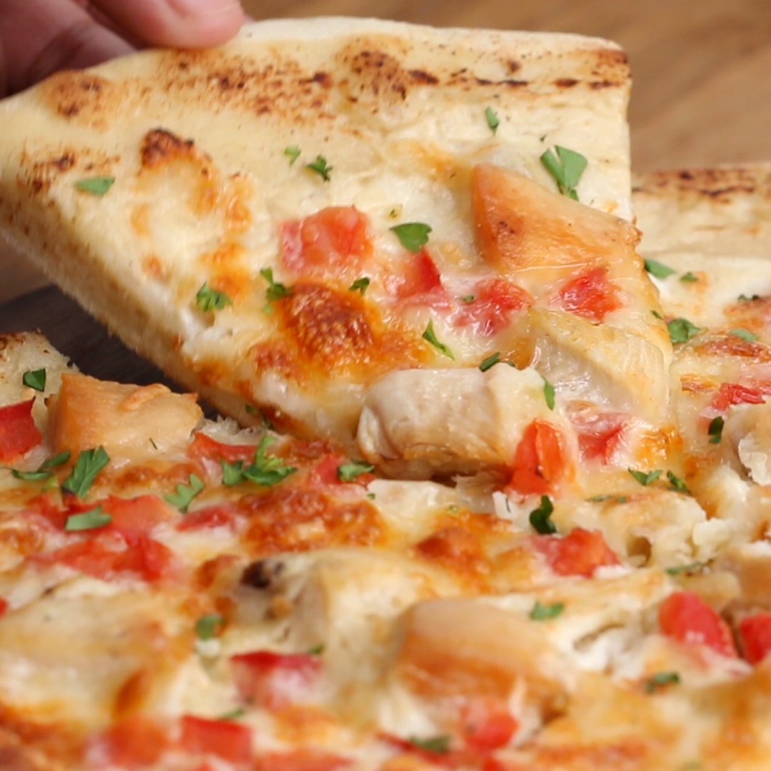 Chicken Alfredo Pizza Recipe By Tasty