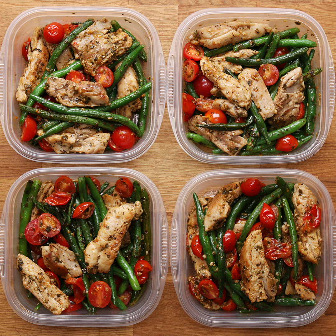 weekday meal prep pesto chicken veggies recipe by tasty. Black Bedroom Furniture Sets. Home Design Ideas