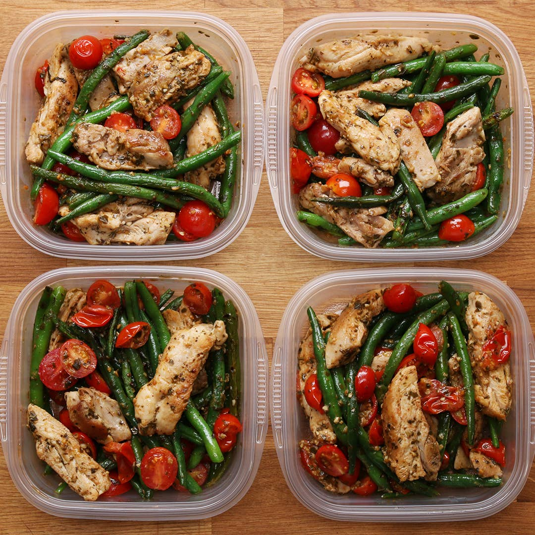 Weekday Meal Prep Pesto Chicken Veggies Recipe By Tasty