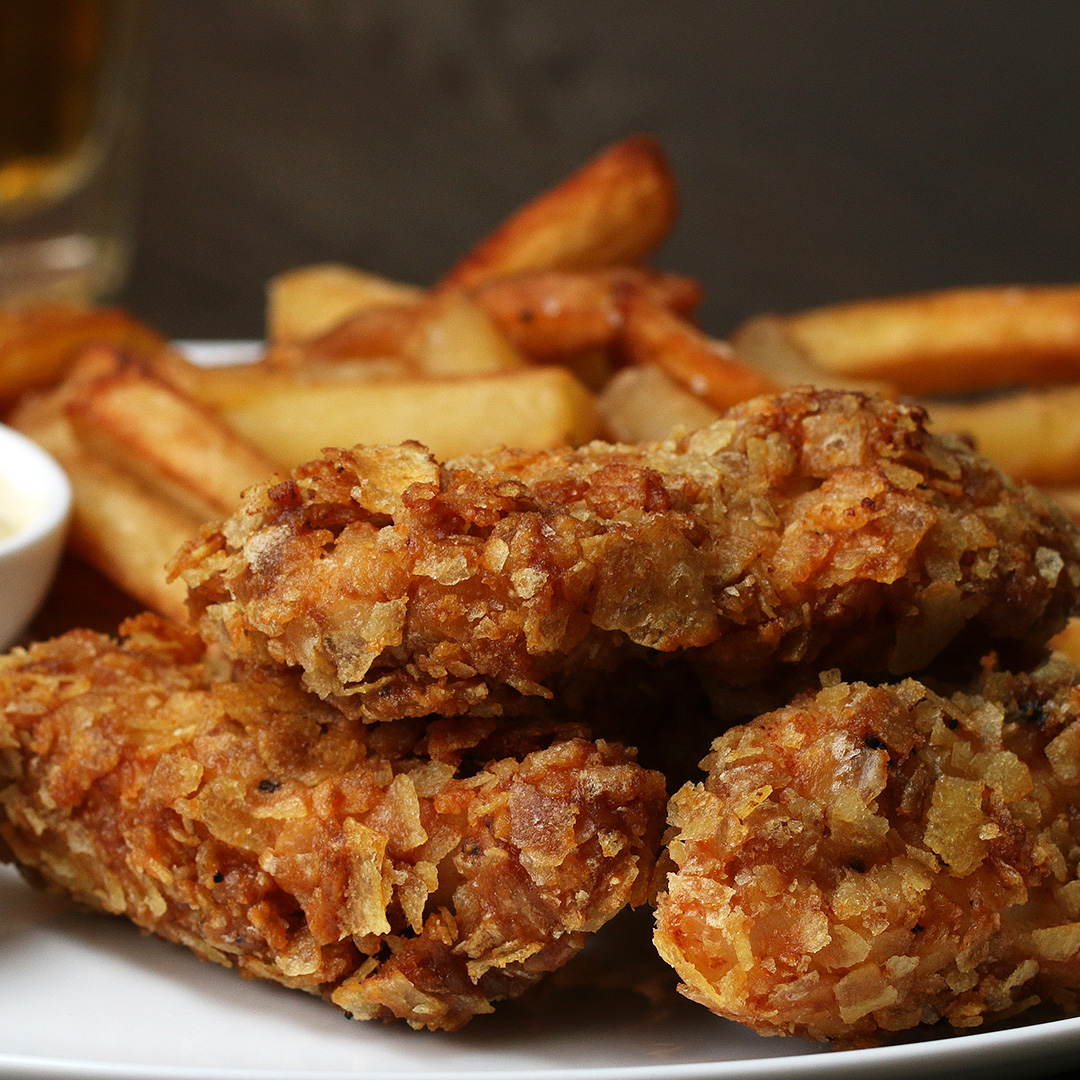 Beer Battered Crispy Fried Chicken Strips Recipe By Tasty
