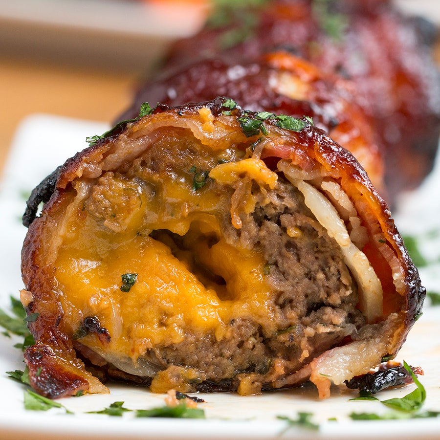 BBQ Bacon Onion–Wrapped Meatballs