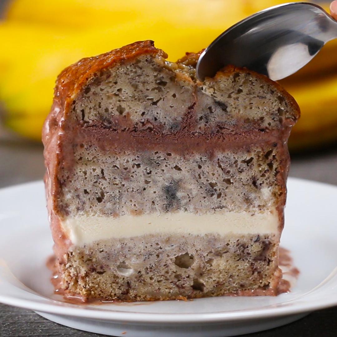 Banana Bread Ice Cream Cake Recipe By Tasty