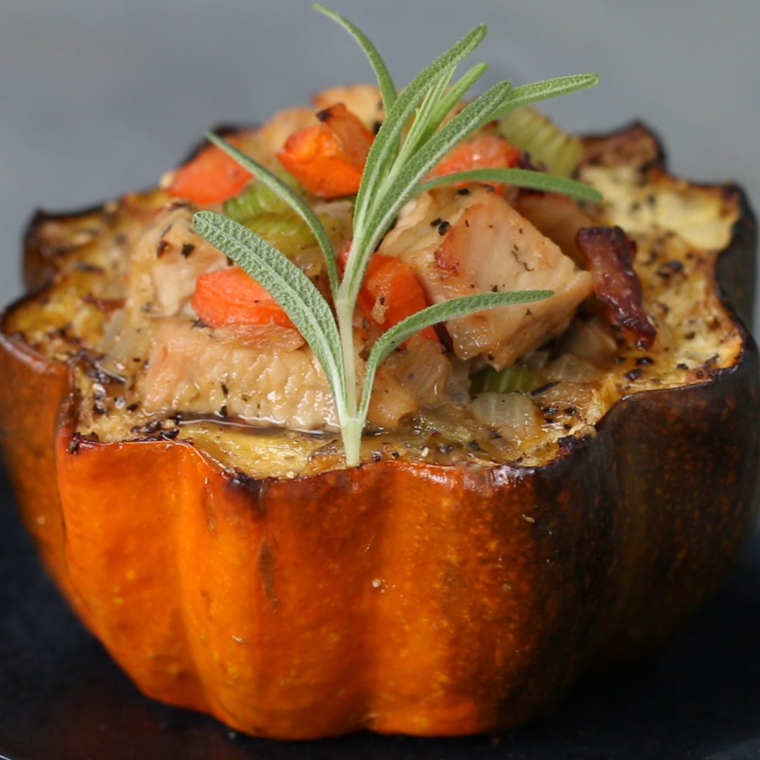 Leftover Turkey Stuffed Squash