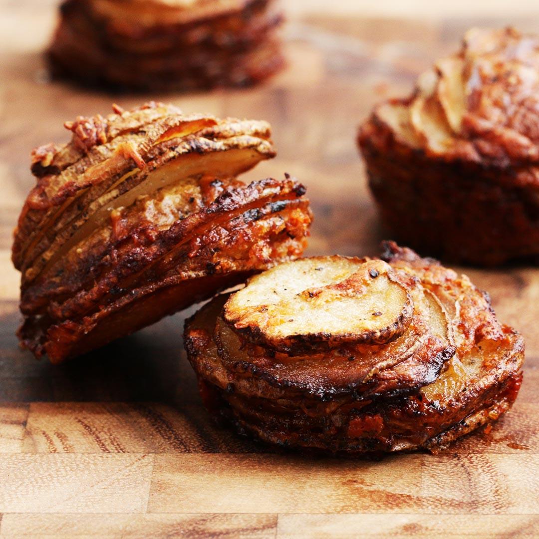 Garlic Parmesan Potato Stackers Recipe by Tasty