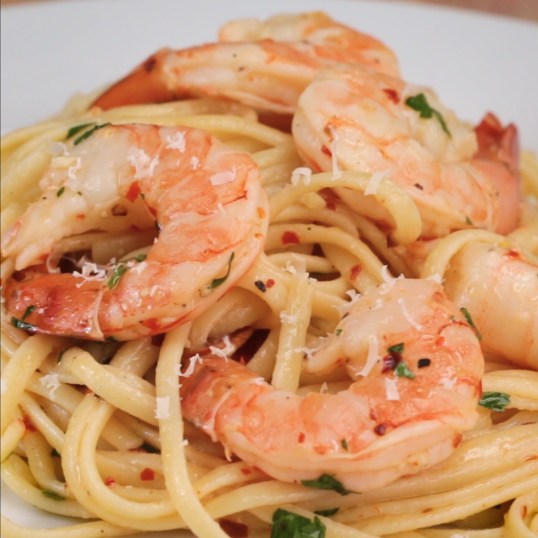 Baked Shrimp Scampi Linguine Pasta Recipe By Tasty
