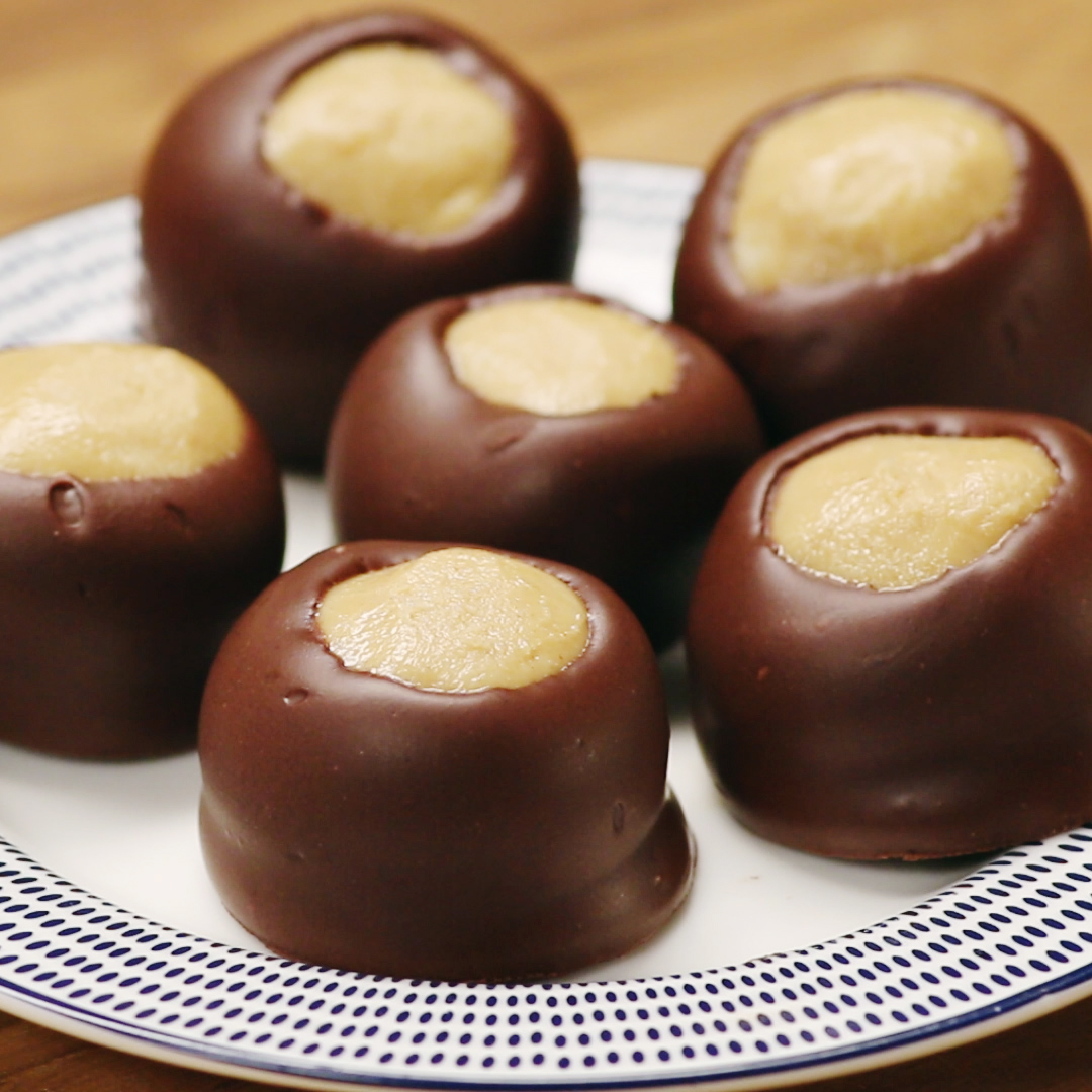 No-Bake Chocolate Peanut Butter Balls (Buckeyes) Recipe by Tasty