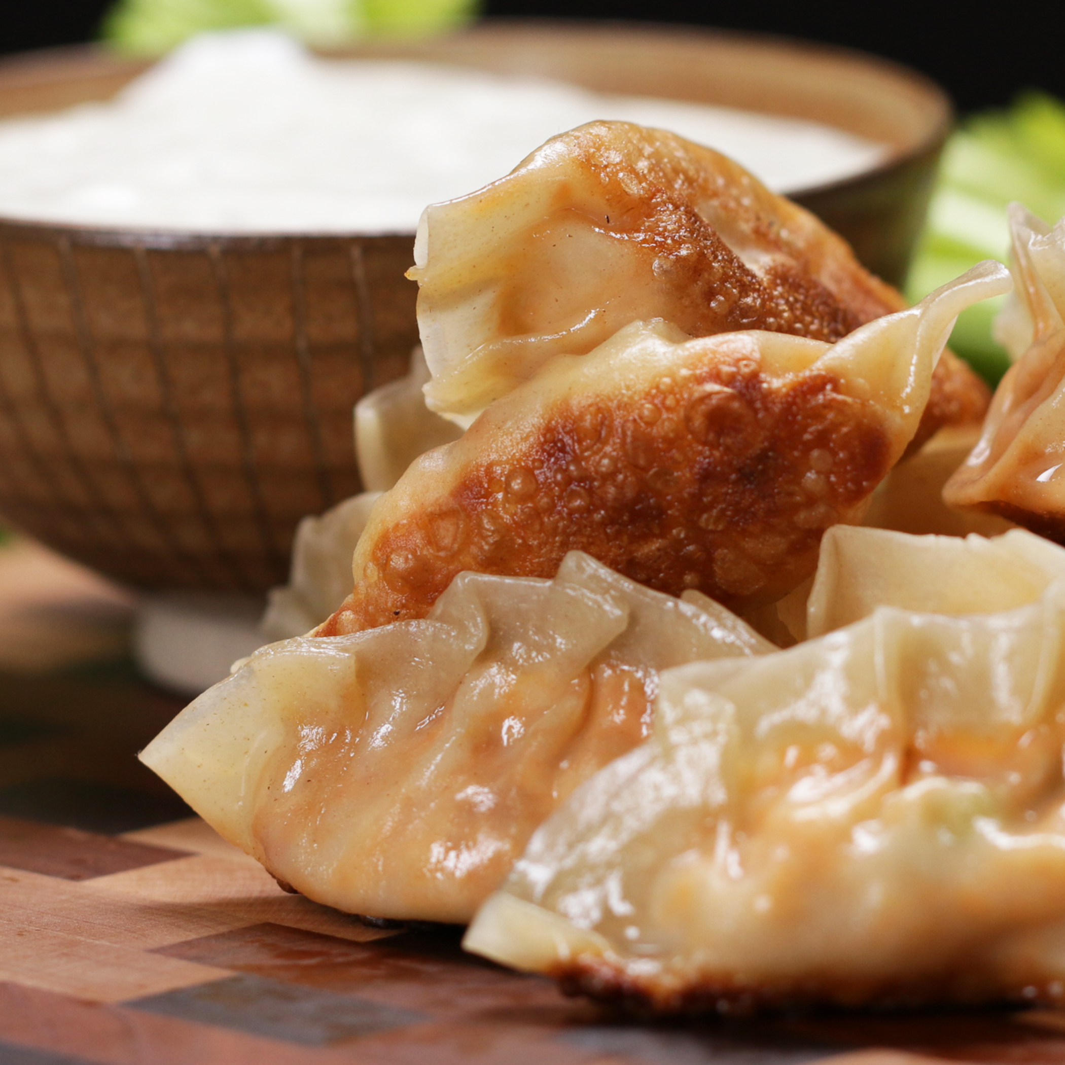Buffalo Chicken Potstickers Recipe By Tasty