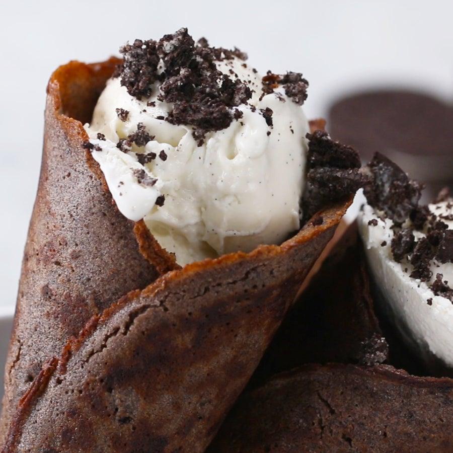 Cookies and Cream Ice Cream Cones