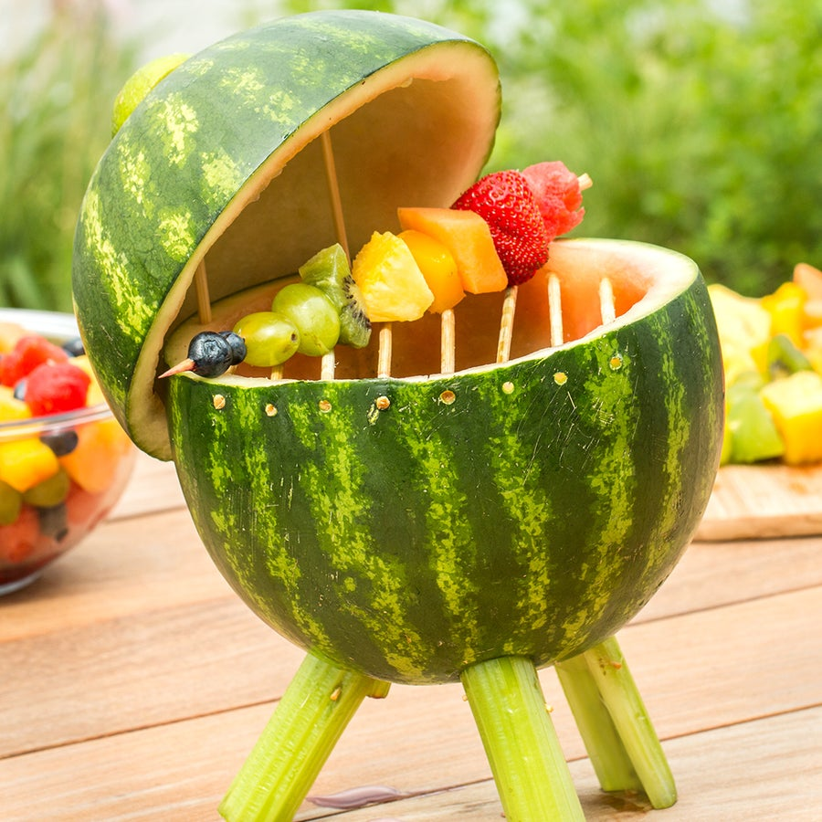 Watermelon Grill With Fruit Skewers
