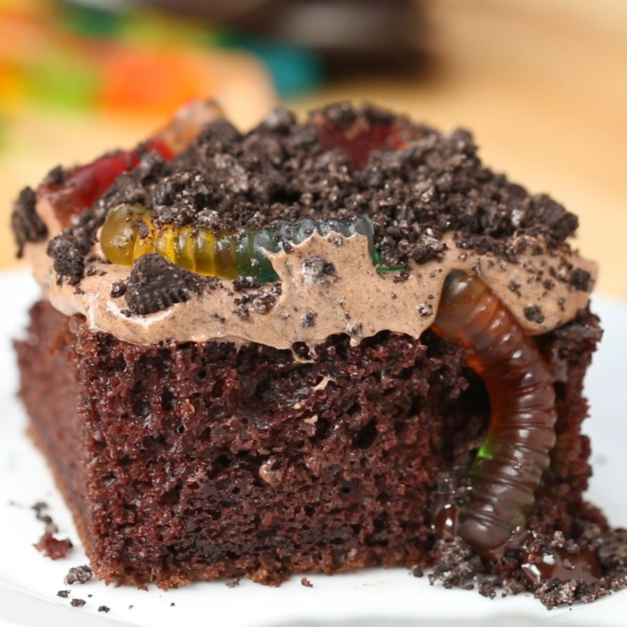 """""""Worms and Dirt"""" Poke Box Cake"""