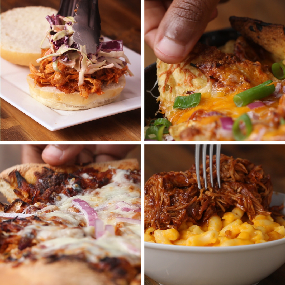 Slow Cooker Bbq Pulled Chicken 4 Ways Recipe By Tasty