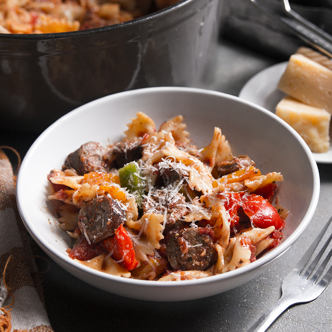 One Pot Sausage And Peppers Pasta Recipe By Tasty