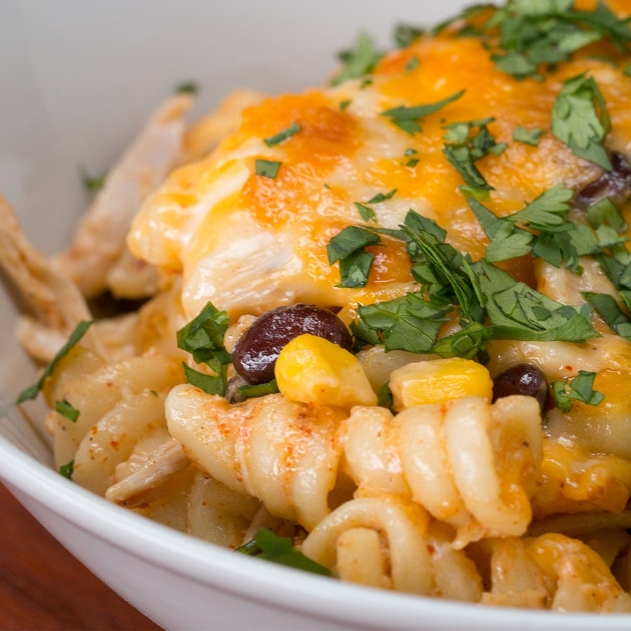 Southwest Chicken Alfredo Pasta Bake