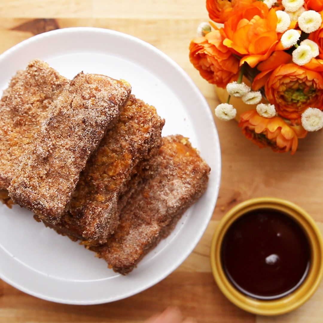 Crunchy Churro French Toast Sticks Recipe By Tasty