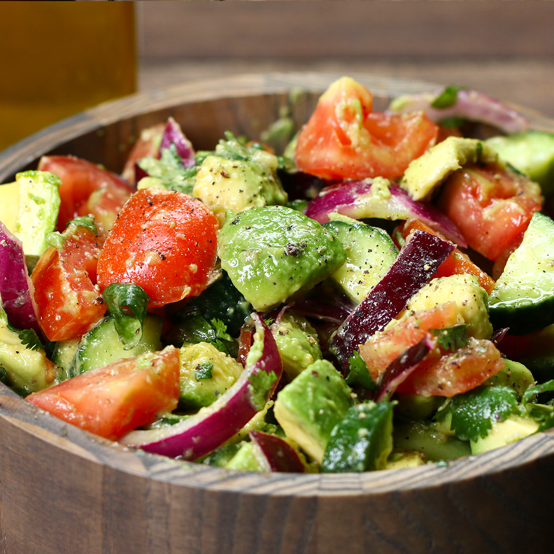 Cucumber Tomato And Avocado Salad Recipe By Tasty