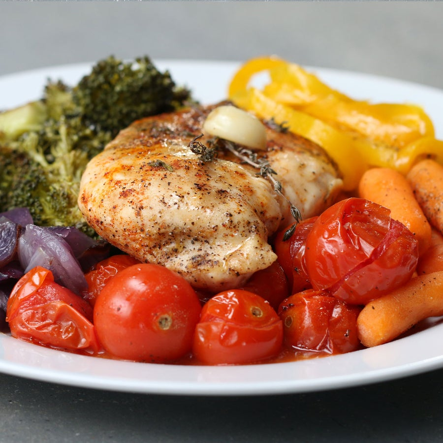 Foil Pack Chicken And Rainbow Veggies