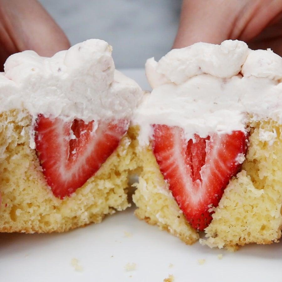 Strawberries And Cream 'Box' Cupcakes