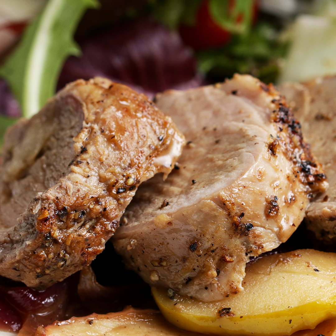 Easy One Pan Pork Tenderloin Dinner With Apples And Onion Recipe By Tasty