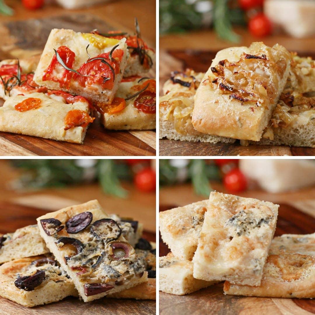 Herbed Flatbread Focaccia 4 Ways Recipe By Tasty