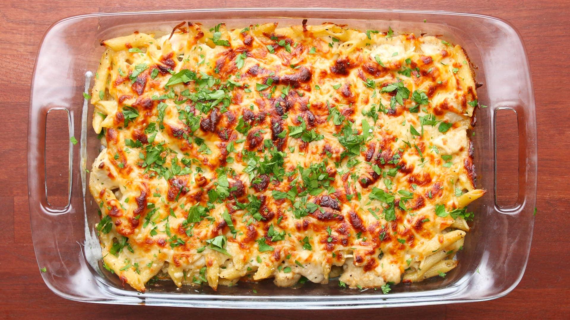 Cheesy Chicken Alfredo Pasta Bake Recipe by Tasty