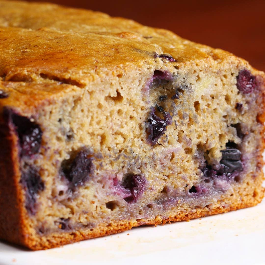 Healthy Blueberry Banana Bread Recipe By Tasty