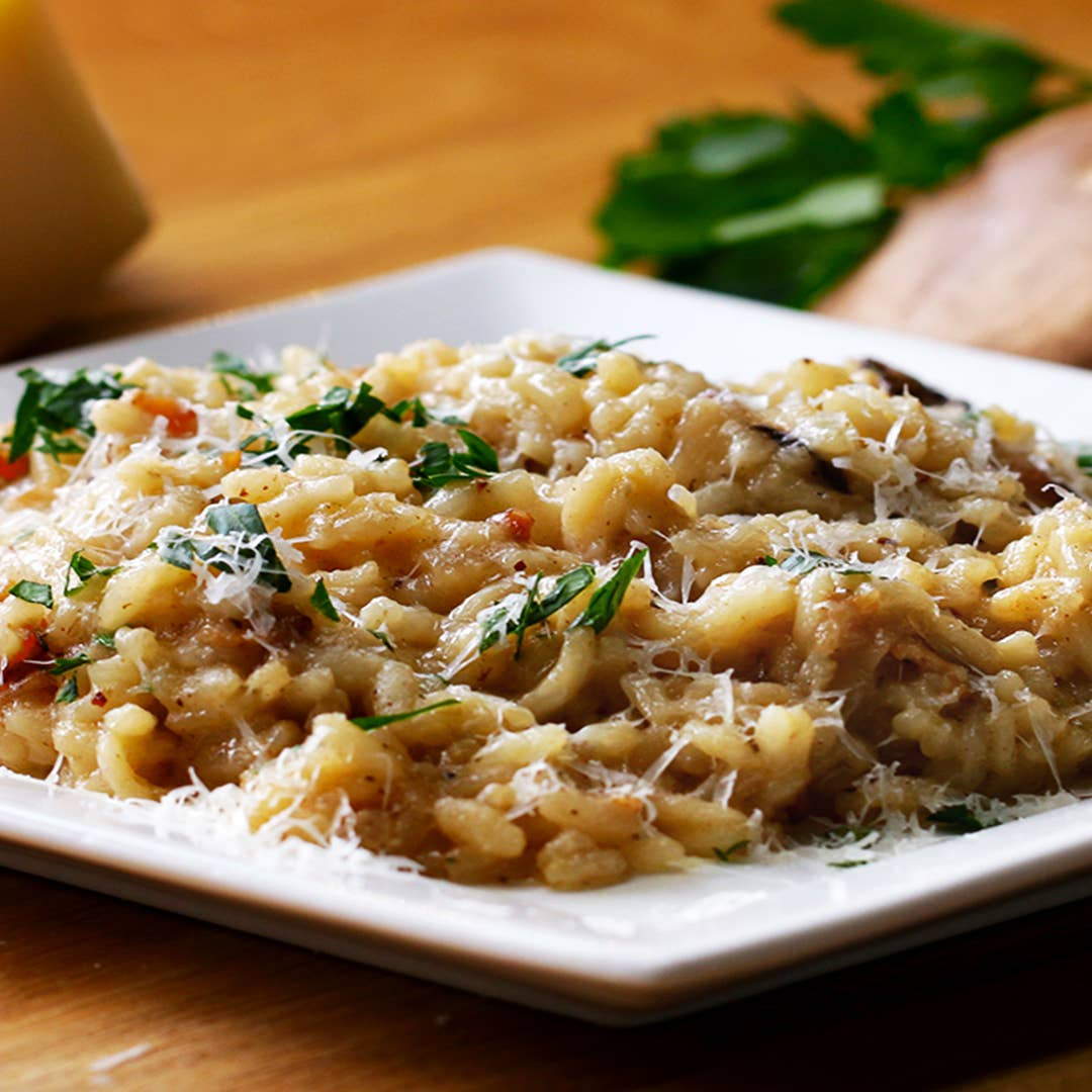 One Pot Bacon And Wild Mushroom Risotto Recipe By Tasty