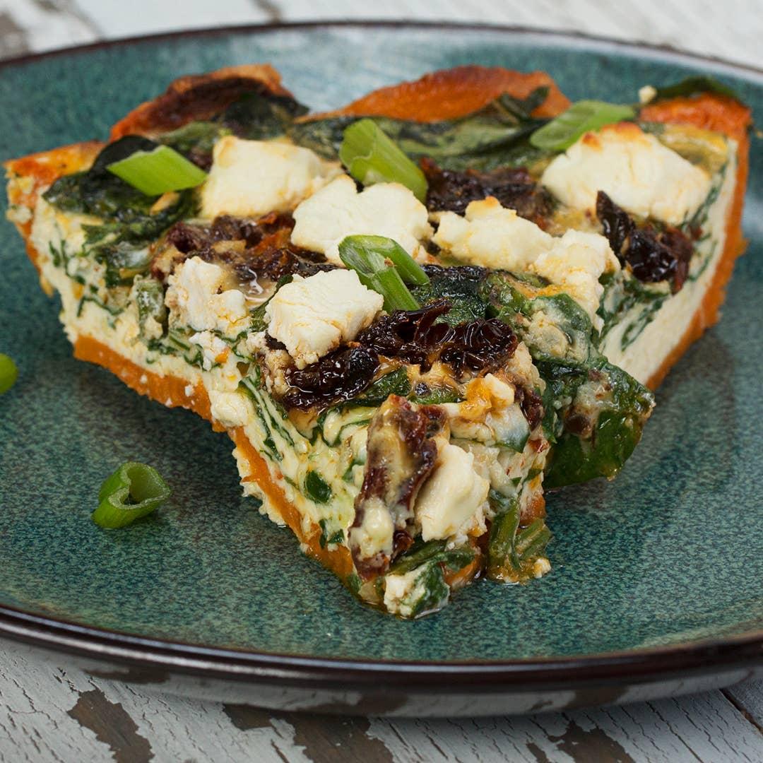 Spinach Sun Dried Tomato Sweet Potato Crusted Quiche Recipe By Tasty