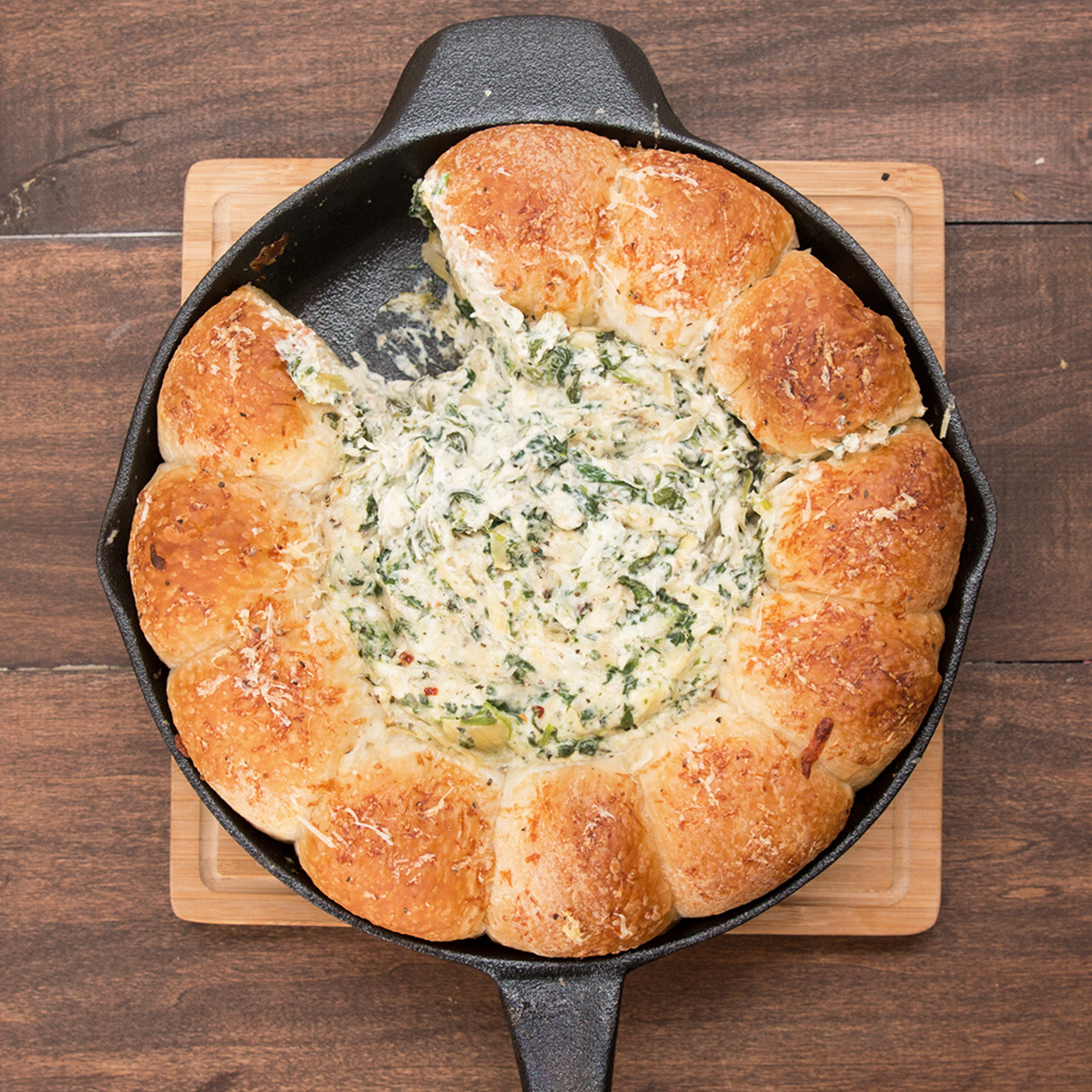 Cheesy Spinach And Artichoke Bread Ring Dip Recipe By Tasty