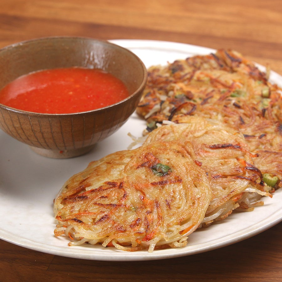 Rice Noodle Pancakes With Chili Sauce