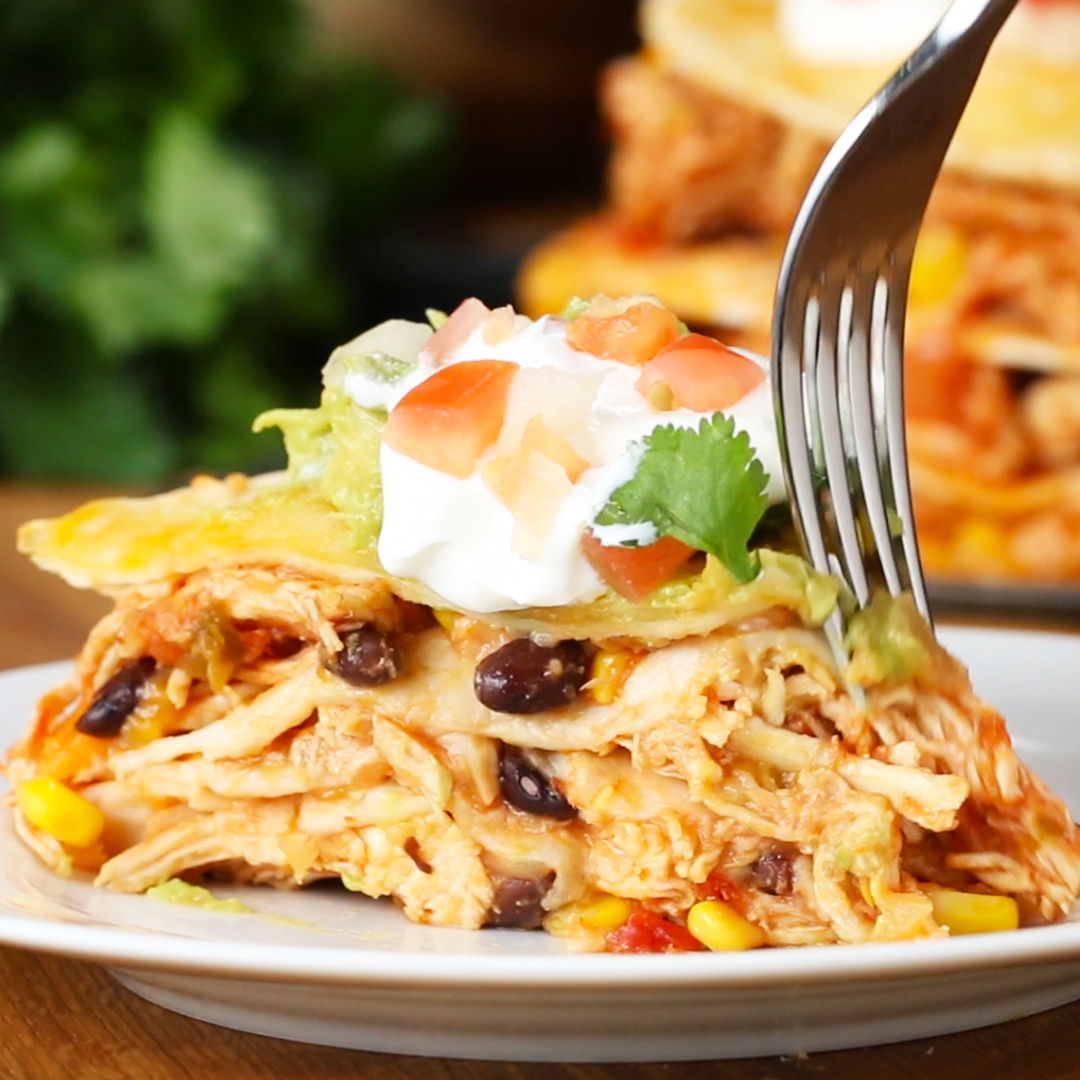 Cheesy Chicken Layer Quesadilla Recipe By Tasty